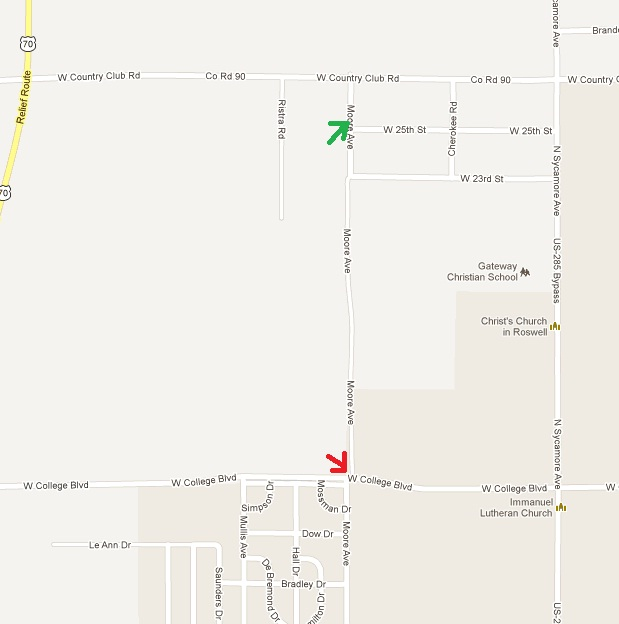 The RED arrow is where I tried to connect with Moore and had to traverse a ditch. The GREEN arrow is where Moore actually becomes a road.