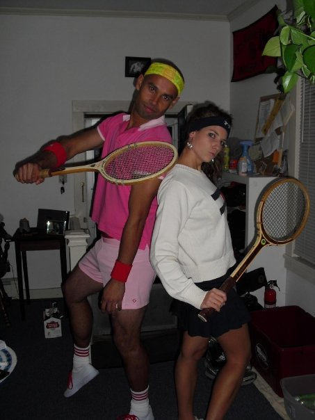 I put my partner's costume together as well. He suggested pink.