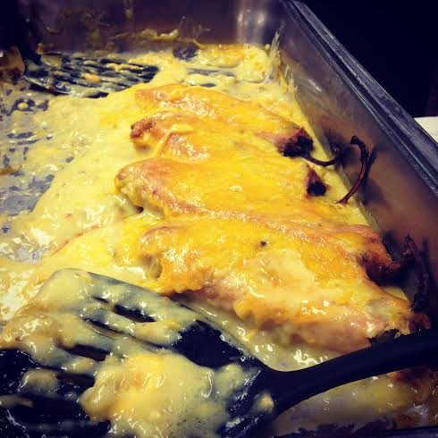 Chili rellenos: pablano chilis stuffed with cheese and smothered with green chili sauce and more cheese :)