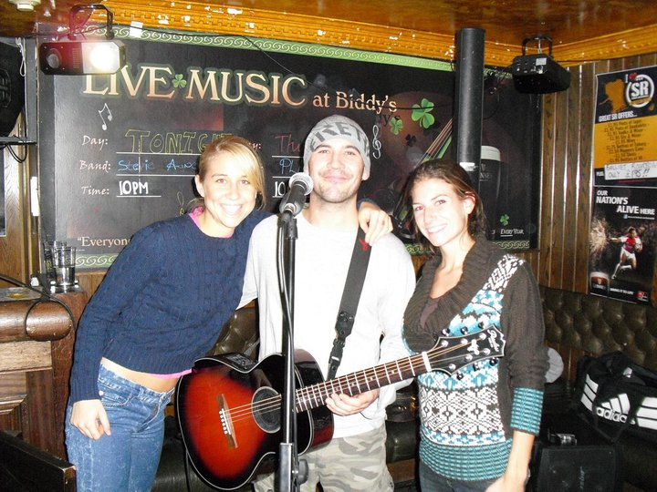 My friend and I with a real-life Scottish musician, in an attempt to recreate PS I Love You fantasies.