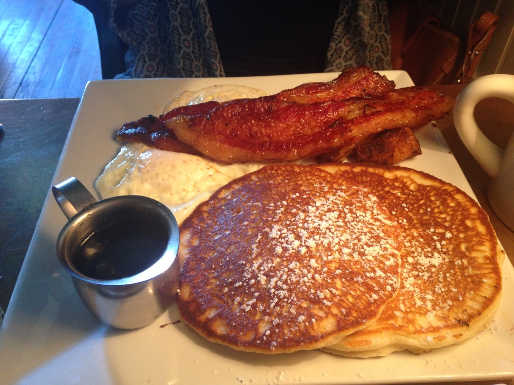 Big shot with pancakes and LOOK AT THAT BACON OMG