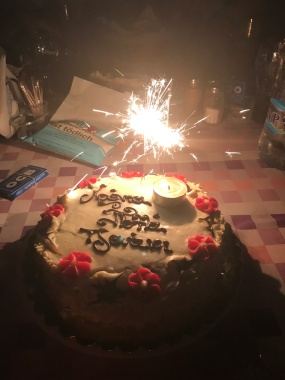 Sparklers on my Tzenaki cake. I still made a wish.