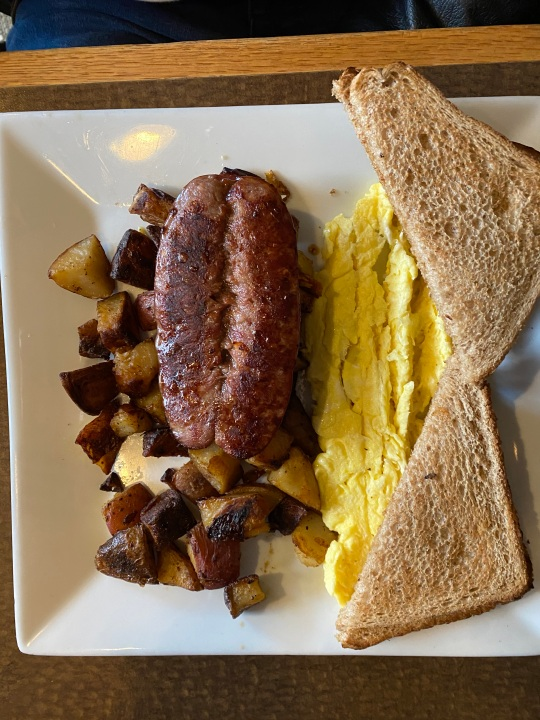 The Greek Breakfast, with Loukaniko (sausage). Someone must be Greek!
